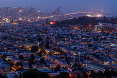 San Francisco cityscape panorama with view of the financial dist Stock Photos