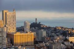 San Francisco Coit Tower Sunrise Fog Stock Images