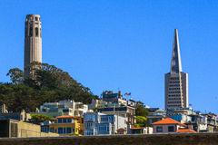 San Francisco Coit Tower and Transamerica Building Stock Image