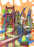 San Francisco colored drawing Stock Photo
