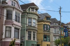 San Francisco - Colourfull-Huizen Stock Foto