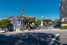 San Francisco crossroads with electricity cables overhead Royalty Free Stock Photography