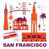 San Francisco culture travel set. Famous architectures and specialties in flat design. Business travel and tourism concept clipart. Image for presentation royalty free illustration
