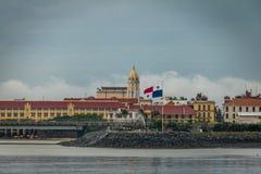 San Francisco de Asis Church in Casco Viejo and Panama Flag - Panama City, Panama Royalty Free Stock Images