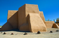 San Francisco de Asis Mission Church. The famous St. Francis de Asis Church in Ranchos de Taos, New Mexico, painted and photographed by many famous artists and Stock Image