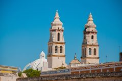 San Francisco de Campeche, Mexico. Cathedral in Campeche on a blue sky background. San Francisco de Campeche, Mexico. Cathedral on the background of blue sky Royalty Free Stock Photo