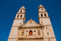 San Francisco de Campeche, Mexico. Cathedral in Campeche on a blue sky background. San Francisco de Campeche, Mexico. Cathedral on the background of blue sky Stock Photography