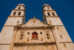 San Francisco de Campeche, Mexico. Cathedral in Campeche on a blue sky background. San Francisco de Campeche, Mexico. Cathedral on the background of blue sky Stock Image