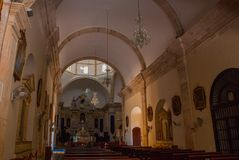 San Francisco de Campeche, Mexico. Interior Cathedral in Campeche stock photo