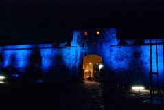 San Francisco de Campeche, Mexico: Old fortress wall and entrance to the historic center. Land gate Puerta de Tierra At night with royalty free stock photos