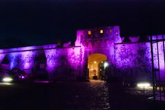 San Francisco de Campeche, Mexico: Old fortress wall and entrance to the historic center. Land gate Puerta de Tierra At night with stock photography