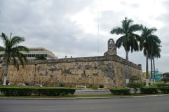San Francisco de Campeche, Mexico: View of the old fortress wall royalty free stock photography