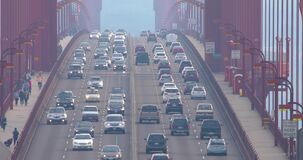 Traffic on Golden Gate Bridge in the morning stock footage