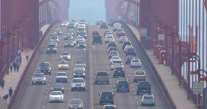 Traffic on Golden Gate Bridge in the morning. SAN FRANCISCO - DECEMBER 23, 2017: Heavy traffic on Golden Gate Bridge, connecting San Francisco to Marin County stock footage