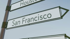San Francisco direction sign on road signpost with American cities captions. Conceptual 3D rendering. San Francisco direction sign on road signpost with American Stock Images