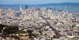 San Francisco Downtown. San Francisco panorama seen from Twin Peaks Stock Photos