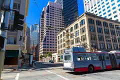 San Francisco downtown buildings and tram California Stock Photography