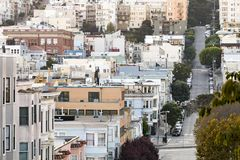 San Francisco downtown city scene looking down Greenwich Street Royalty Free Stock Image