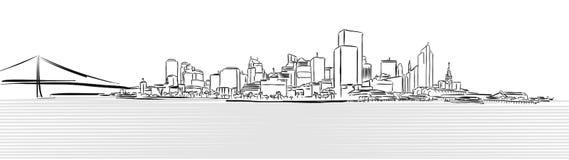 San Francisco Downtown da Pier Sketch royalty illustrazione gratis