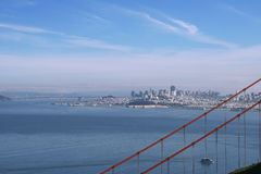 San Francisco downtown, with the Golden Gate. View of San Francisco downtown and financial district, with the Golden Gate Bridge Stock Images