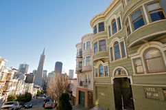 San Francisco Downtown Neighborhood. Telegraph Hill Neighborhood in San Francisco. View towards downtown San Francisco and the Transamerica Pyramid royalty free stock images
