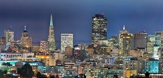 San Francisco Downtown nella notte Fotografie Stock Libere da Diritti