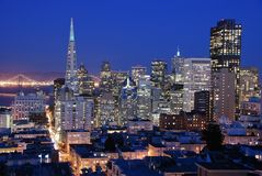 San Francisco downtown at nigh Royalty Free Stock Photo