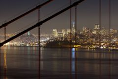 San Francisco downtown at night Royalty Free Stock Photos