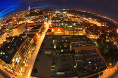 San Francisco Downtown at Night Fisheye Stock Photography