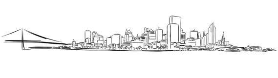 San Francisco Downtown Outline Sketch royalty-vrije illustratie