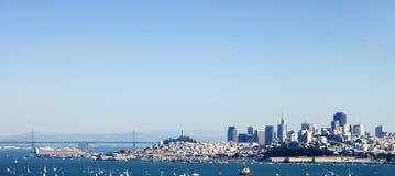 San Francisco Downtown Panorama. San Francisco Panorama from the Bay Bridge to Downtown Royalty Free Stock Image
