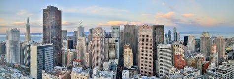 San Francisco Downtown Panoramic View, solnedgång royaltyfri foto