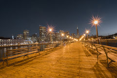 San Francisco Downtown from Pier 7, Night Stock Images