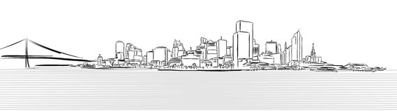 San Francisco Downtown from Pier Sketch. Hand-drawn Vector Artwork royalty free illustration