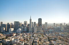 San Francisco Downtown Skyline. A view on San Francisco downtown skyline and the Transamerica Tower from the Coit Tower Stock Photo
