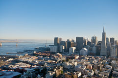 San Francisco Downtown Skyline. A view on San Francisco downtown skyline and the Transamerica Tower from the Coit Tower stock images
