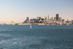 San Francisco downtown skyline from Alcatraz island Stock Photo