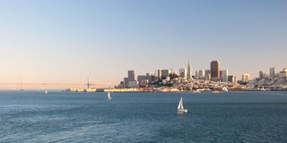 San Francisco downtown skyline from Alcatraz island Stock Photos