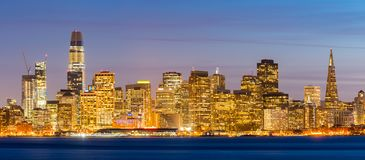 San Francisco downtown skyline. At dusk from Treasure Island, California, sunset, USA. Panorama stock photo