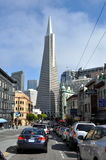 San Francisco Downtown street old and new Royalty Free Stock Photo