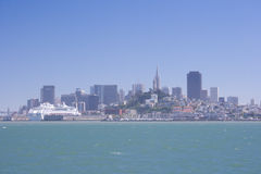 San Francisco downtown on sunny day. View on San Francisco city center from Alcatraz island. California, USA royalty free stock images