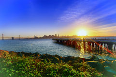 San Francisco Downtown Sunset Arkivbilder