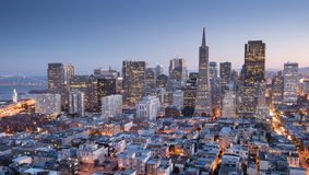 San Francisco Downtown from top of Coit Tower in Telegraph Hill, Dusk. Stock Photography