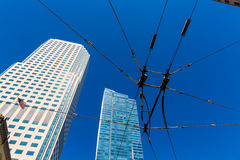 San Francisco downtown Tram cables in sky California Stock Photo