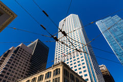 San Francisco downtown Tram cables in sky California Royalty Free Stock Photos
