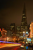 San Francisco Downtown Transamerica Pyramid at Night Royalty Free Stock Photography