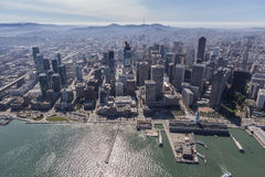 San Francisco Downtown Waterfront Aerial Stock Images