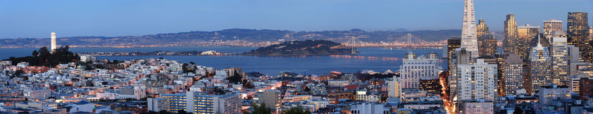 San Francisco at dusk (Panoramic shot). A photo of San Francisco skyline, looking eastward, shot at dusk. This is a seamlessly stitched panoramic shot with a lot Stock Images