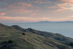 San Francisco East Bay Sunset, Looking South-West. South Bay and Santa Cruz Mountains Sunset from the Summit of Mission Peak, Fremont, California, USA Stock Photography