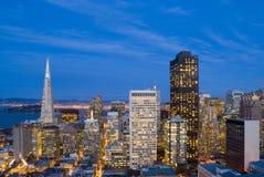 San Francisco efter solnedgång Arkivbilder